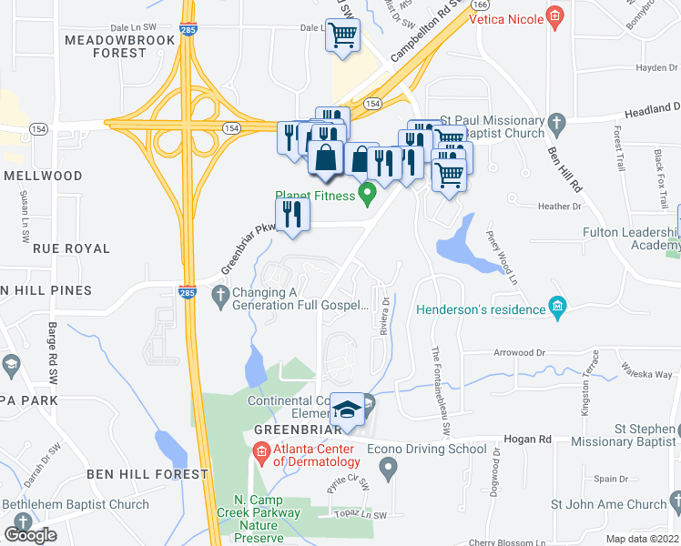 map of restaurants, bars, coffee shops, grocery stores, and more near 2511-2803 Continental Colony Parkway Southwest in Atlanta