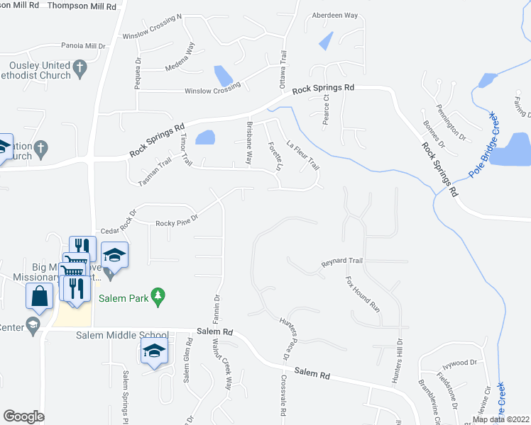 map of restaurants, bars, coffee shops, grocery stores, and more near 3347 Hunters Pace Drive in Lithonia