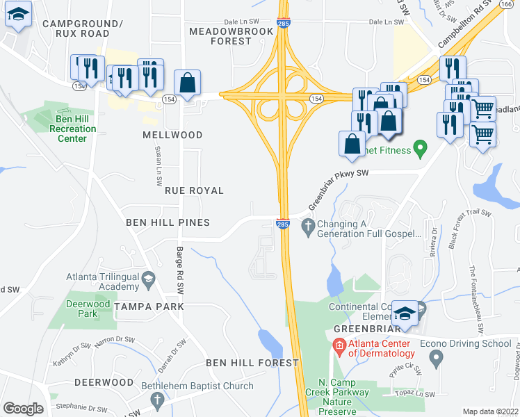map of restaurants, bars, coffee shops, grocery stores, and more near 3397 Greenbriar Parkway Southwest in Atlanta