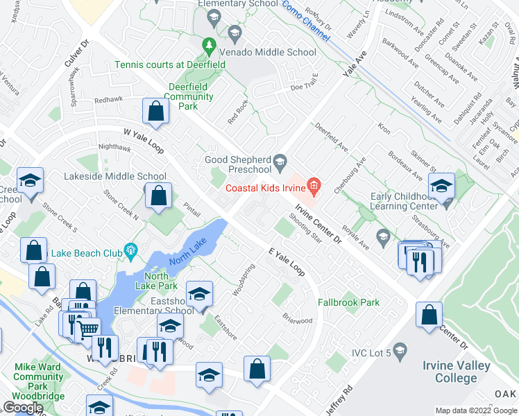 map of restaurants, bars, coffee shops, grocery stores, and more near 25 Sunfish in Irvine