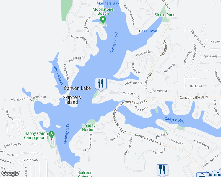 map of restaurants, bars, coffee shops, grocery stores, and more near 22346 Canyon Club Drive in Canyon Lake