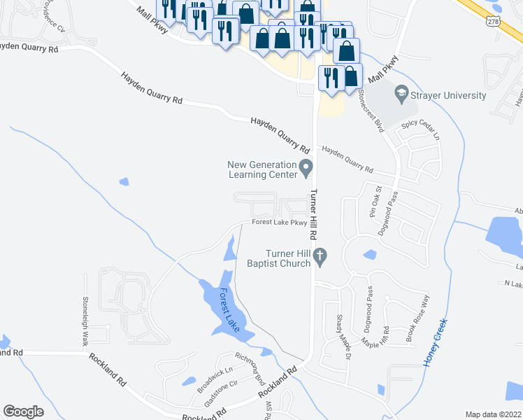 map of restaurants, bars, coffee shops, grocery stores, and more near 100 Wesley Stonecrest Circle in Lithonia