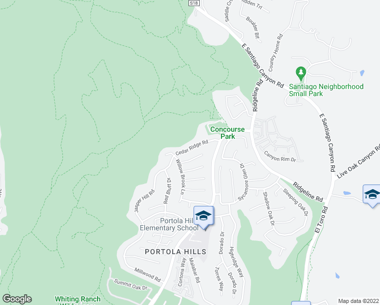 map of restaurants, bars, coffee shops, grocery stores, and more near 28542 Cedar Ridge Road in Trabuco Canyon
