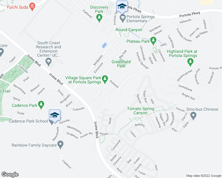 map of restaurants, bars, coffee shops, grocery stores, and more near Leafy Twig in Irvine
