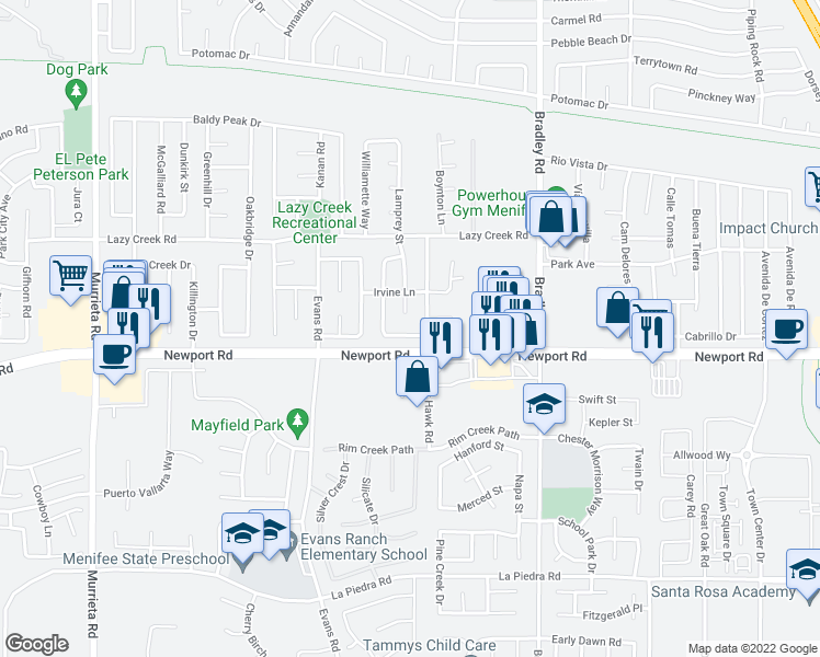 map of restaurants, bars, coffee shops, grocery stores, and more near 26732 Cactus Creek Way in Menifee