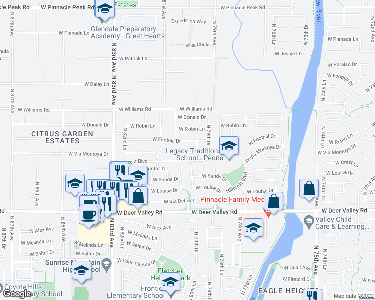 map of restaurants, bars, coffee shops, grocery stores, and more near 8016 West Via Montoya Drive in Peoria