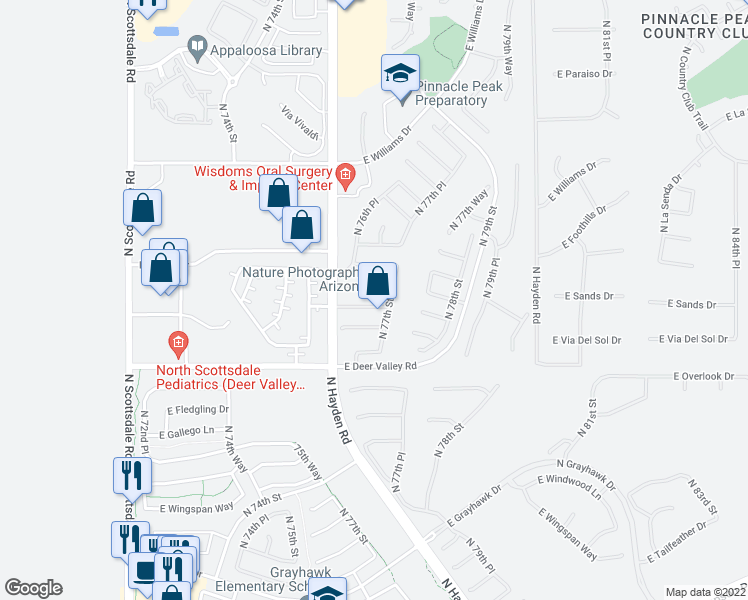 map of restaurants, bars, coffee shops, grocery stores, and more near 7674 East San Fernando Drive in Scottsdale
