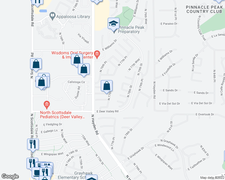 map of restaurants, bars, coffee shops, grocery stores, and more near 22087 North 77th Street in Scottsdale