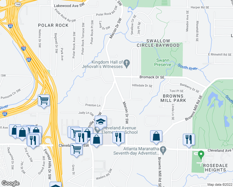 map of restaurants, bars, coffee shops, grocery stores, and more near 25 Bromack Drive Southeast in Atlanta