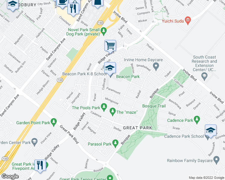 map of restaurants, bars, coffee shops, grocery stores, and more near Paramount in Irvine