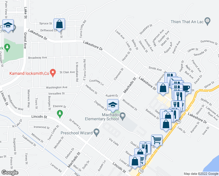 map of restaurants, bars, coffee shops, grocery stores, and more near 31408 Clement Street in Lake Elsinore