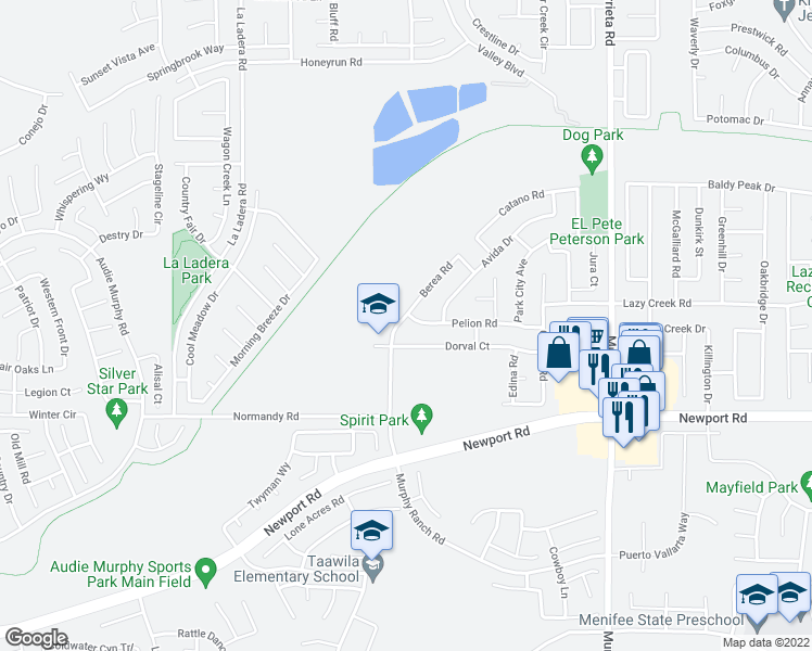 map of restaurants, bars, coffee shops, grocery stores, and more near 29916 Berea Road in Menifee
