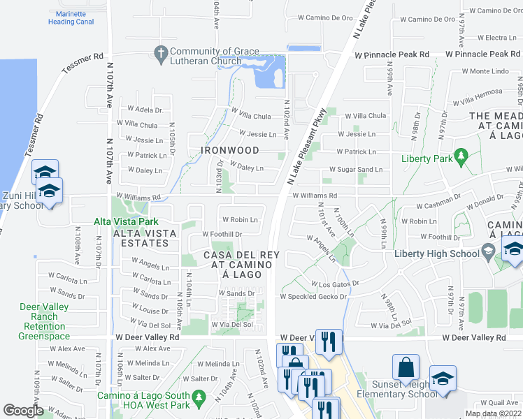 map of restaurants, bars, coffee shops, grocery stores, and more near 10267 West Cashman Drive in Peoria