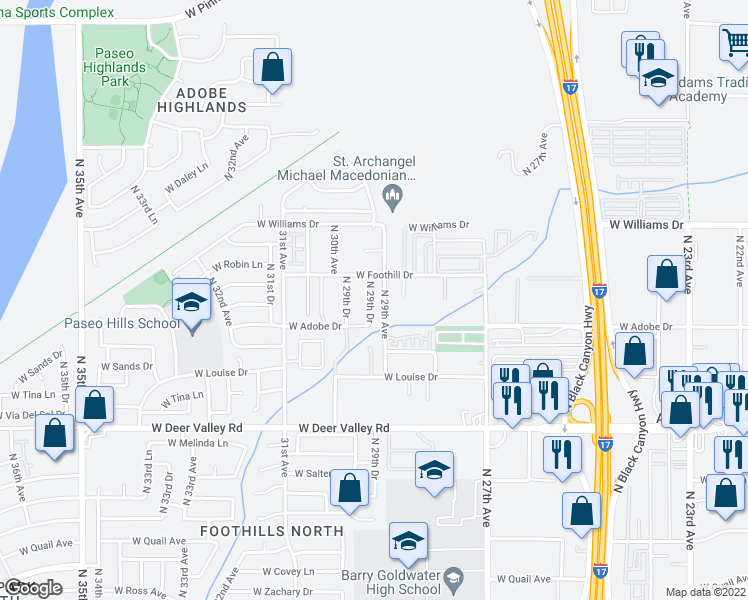map of restaurants, bars, coffee shops, grocery stores, and more near 22221 North 29th Drive in Phoenix