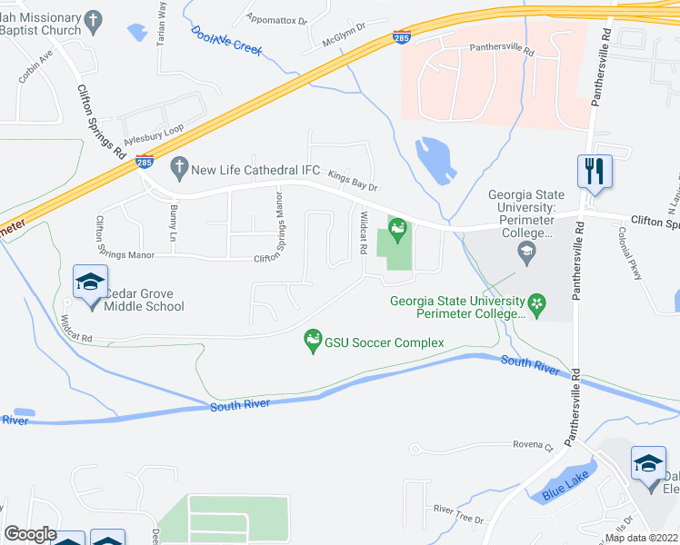 map of restaurants, bars, coffee shops, grocery stores, and more near 3284 Clifton Farm Drive in Decatur
