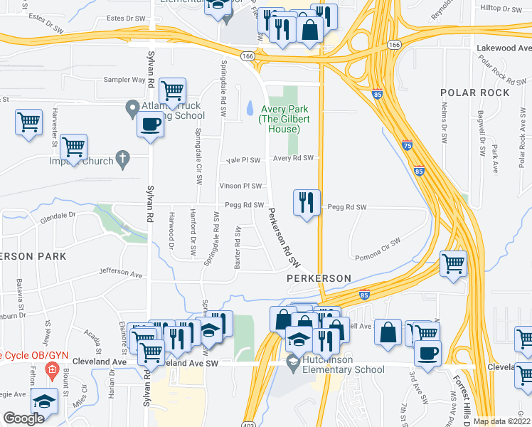map of restaurants, bars, coffee shops, grocery stores, and more near 2415 Perkerson Road Southwest in Atlanta