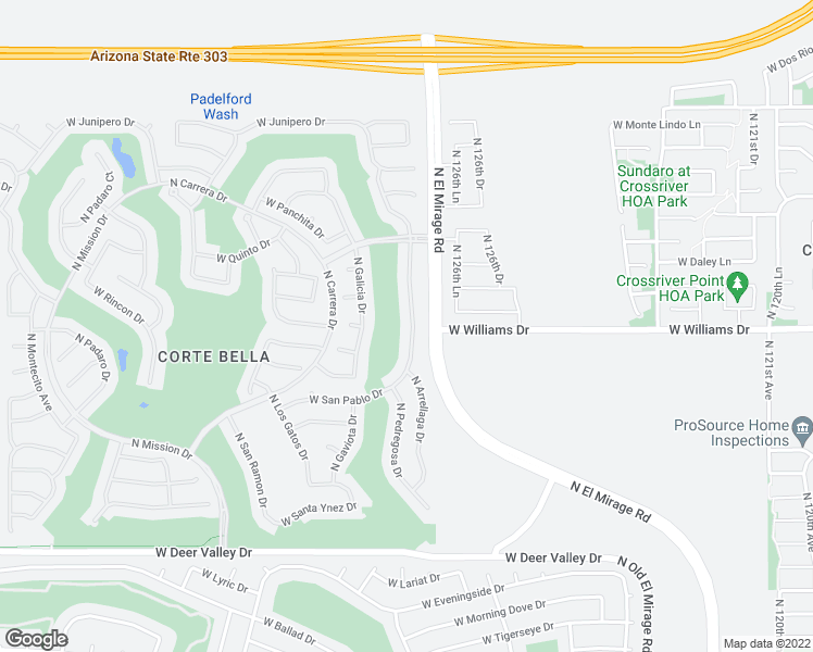 map of restaurants, bars, coffee shops, grocery stores, and more near 22608 North Arrellaga Drive in Sun City West