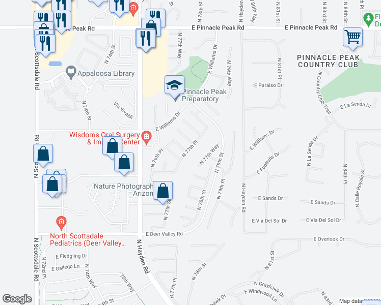 map of restaurants, bars, coffee shops, grocery stores, and more near 22447 North 77th Place in Scottsdale
