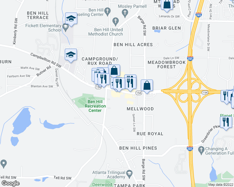 map of restaurants, bars, coffee shops, grocery stores, and more near in Atlanta
