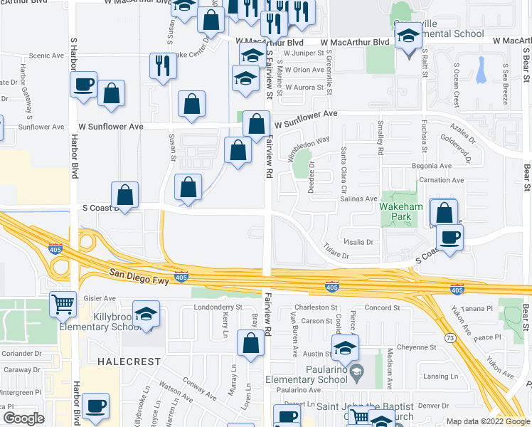 map of restaurants, bars, coffee shops, grocery stores, and more near Fairview Rd & S Coast Dr in Costa Mesa