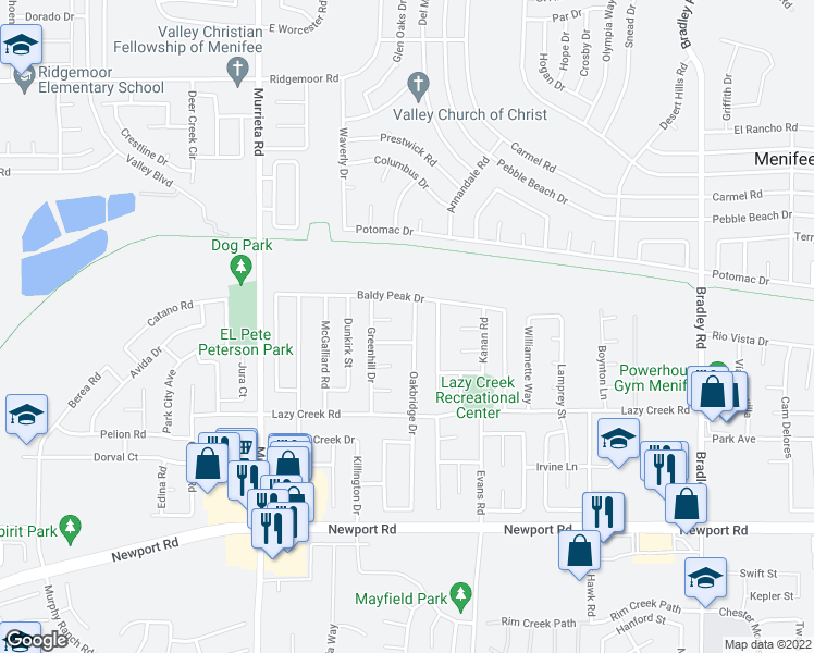 map of restaurants, bars, coffee shops, grocery stores, and more near 29557 Oakbridge Drive in Menifee