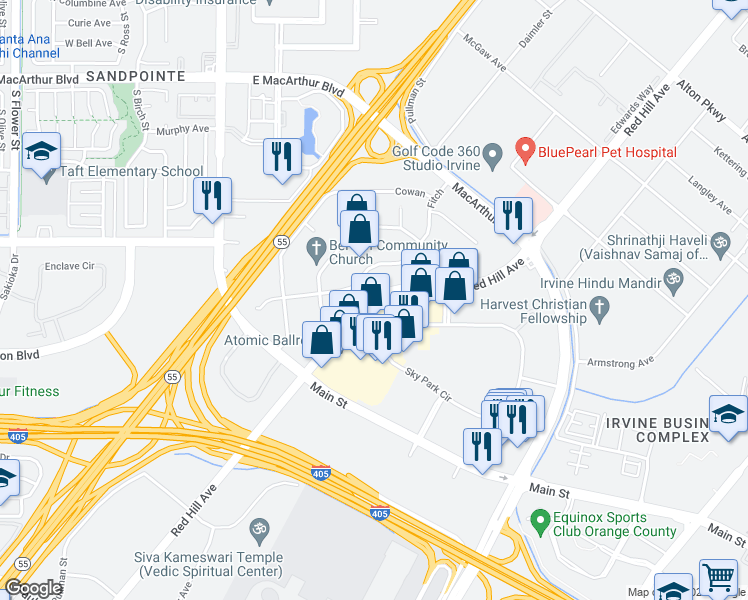 map of restaurants, bars, coffee shops, grocery stores, and more near 17915 Sky Park Circle in Irvine