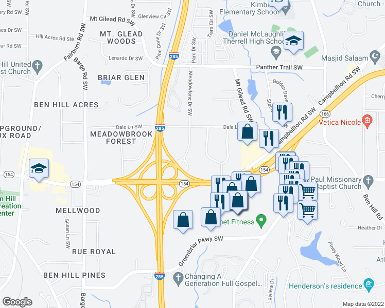 map of restaurants, bars, coffee shops, grocery stores, and more near 3340 Meadowlane Place Southwest in Atlanta