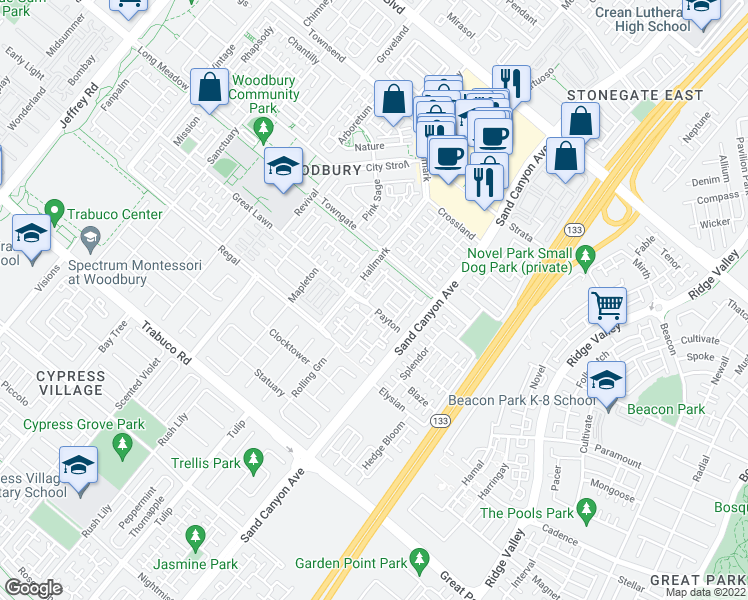 map of restaurants, bars, coffee shops, grocery stores, and more near 1000 Payton in Irvine