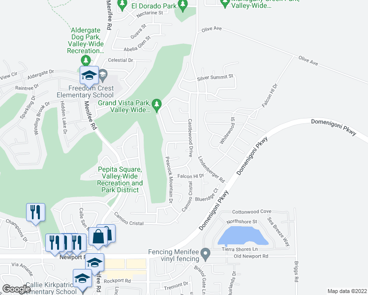 map of restaurants, bars, coffee shops, grocery stores, and more near 29428 Calera Court in Menifee
