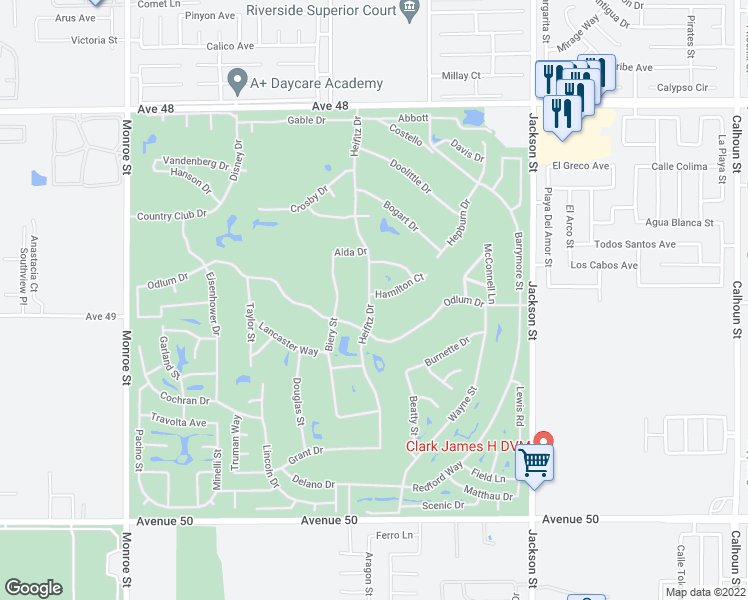 map of restaurants, bars, coffee shops, grocery stores, and more near 82611 Hamilton Court in Indio