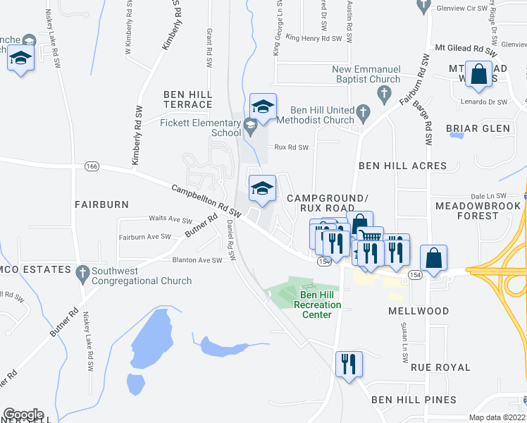 map of restaurants, bars, coffee shops, grocery stores, and more near 3881 Campbellton Road Southwest in Atlanta