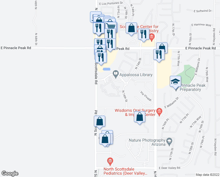 map of restaurants, bars, coffee shops, grocery stores, and more near 7215 East Silverstone Drive in Scottsdale