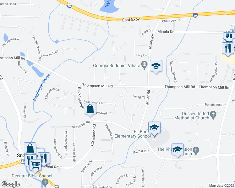 map of restaurants, bars, coffee shops, grocery stores, and more near 3105 Roseheath Lane in Lithonia