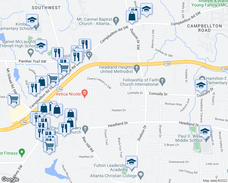 map of restaurants, bars, coffee shops, grocery stores, and more near 2756 Bonnybrook Drive Southwest in Atlanta