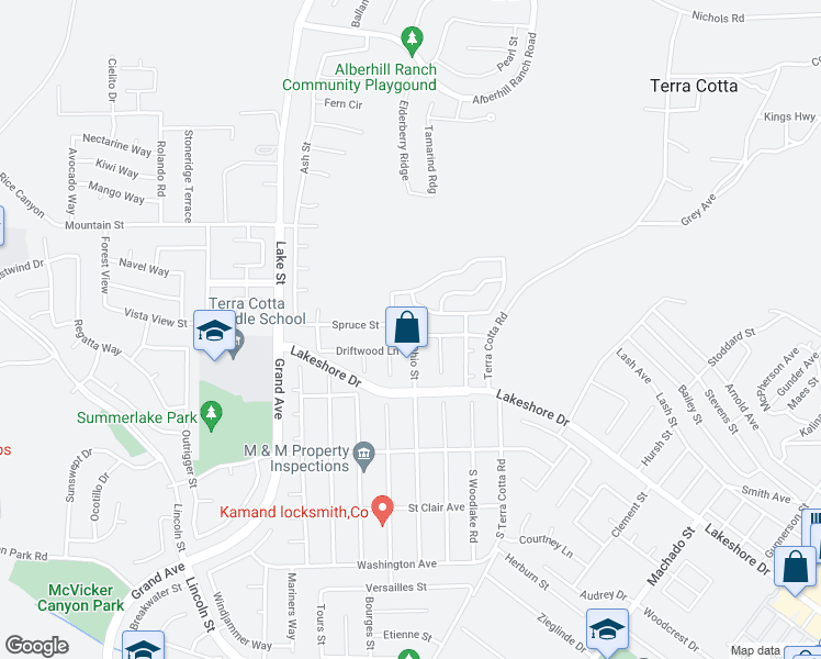 map of restaurants, bars, coffee shops, grocery stores, and more near 3401 Spruce Street in Lake Elsinore