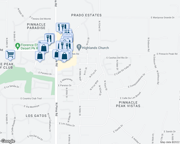 map of restaurants, bars, coffee shops, grocery stores, and more near 9120 East Calle De Valle Drive in Scottsdale