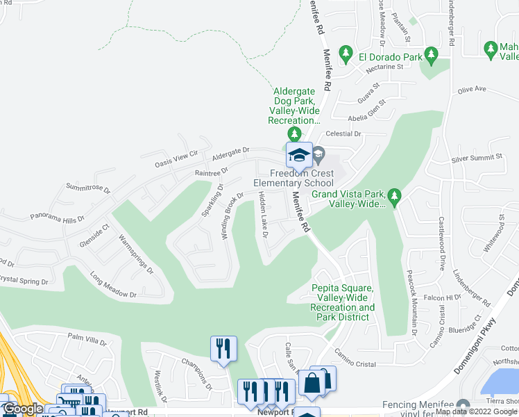 map of restaurants, bars, coffee shops, grocery stores, and more near 29233 Hidden Lake Drive in Menifee