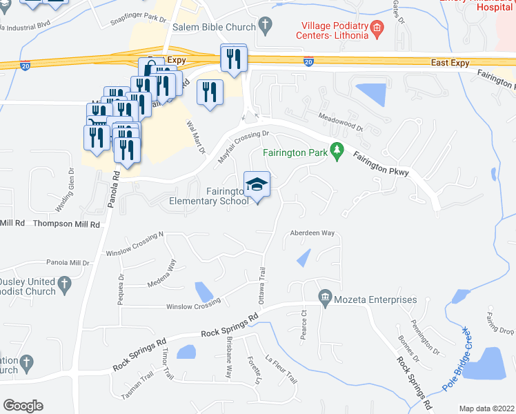map of restaurants, bars, coffee shops, grocery stores, and more near 5505 Phillip Bradley Drive in Lithonia