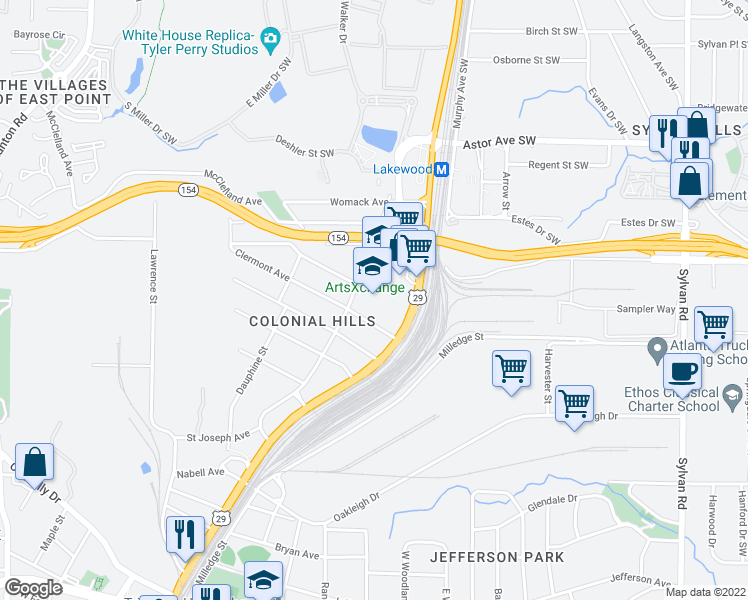 map of restaurants, bars, coffee shops, grocery stores, and more near 2148 Newnan Street in Atlanta