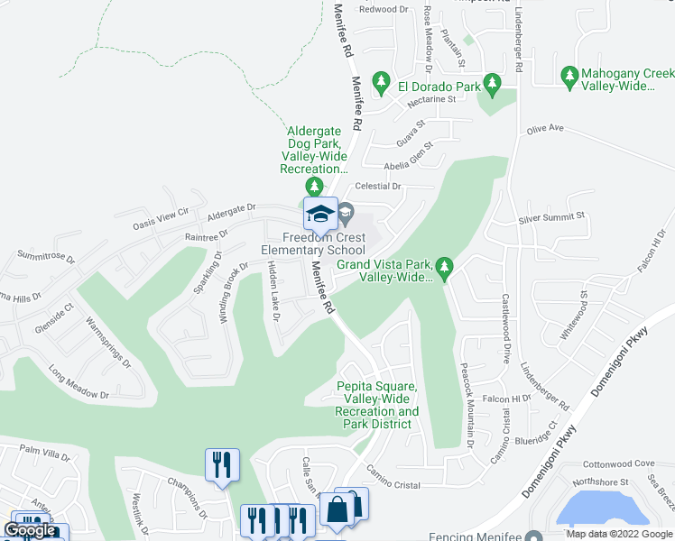 map of restaurants, bars, coffee shops, grocery stores, and more near 29280 Moon Hill Court in Menifee