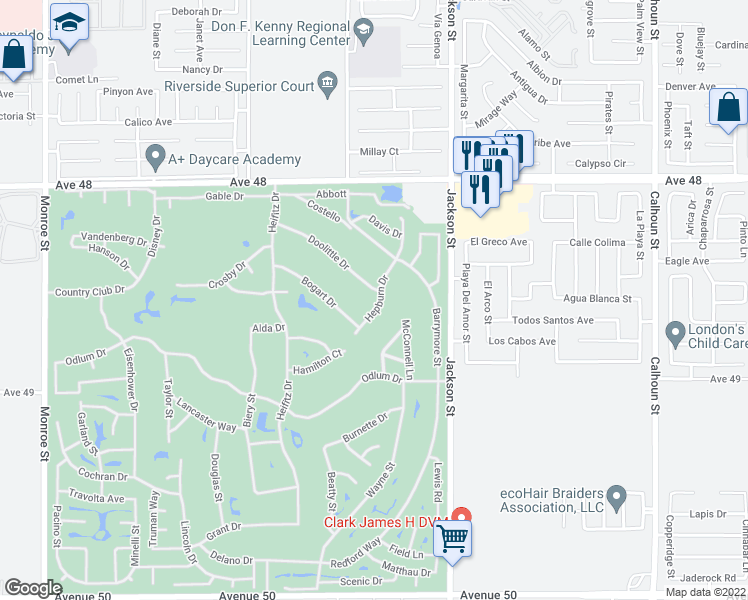 map of restaurants, bars, coffee shops, grocery stores, and more near 48511 Hepburn Drive in Indio