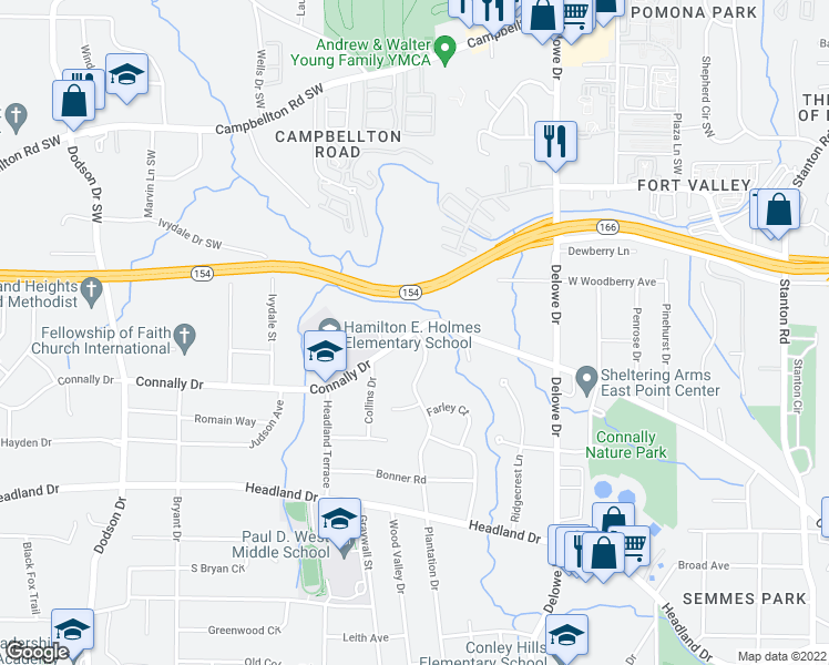 map of restaurants, bars, coffee shops, grocery stores, and more near 2315 Connally Drive in Atlanta