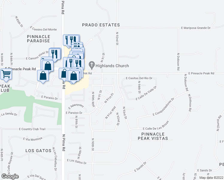 map of restaurants, bars, coffee shops, grocery stores, and more near 23224 North 91st Place in Scottsdale