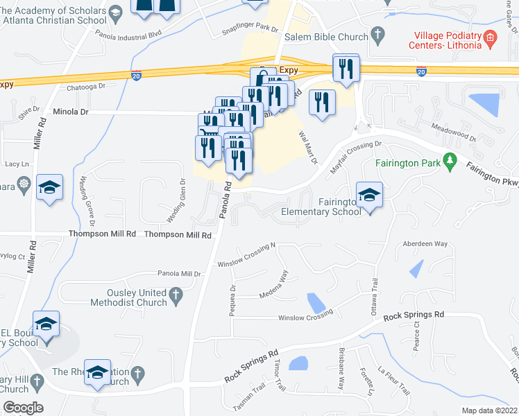 map of restaurants, bars, coffee shops, grocery stores, and more near 5301 West Fairington Parkway in Lithonia