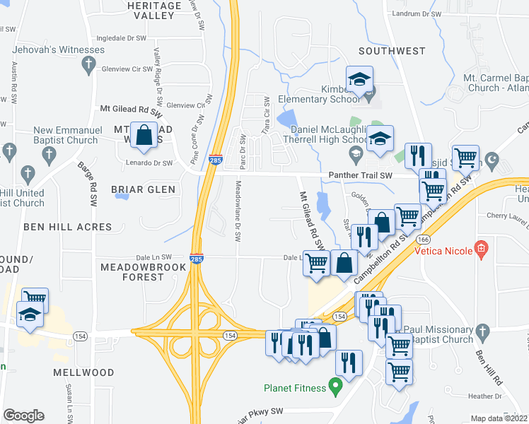 map of restaurants, bars, coffee shops, grocery stores, and more near 3140 Mayo Place Southwest in Atlanta
