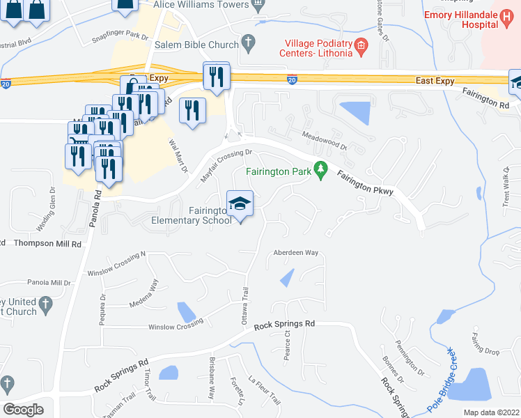 map of restaurants, bars, coffee shops, grocery stores, and more near Ottawa Trail in Lithonia