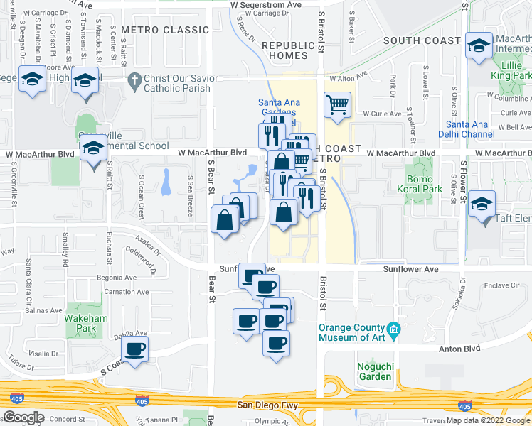 map of restaurants, bars, coffee shops, grocery stores, and more near 3758-3860 South Plaza Drive in Santa Ana