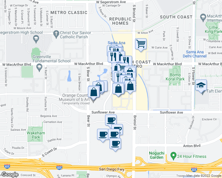 map of restaurants, bars, coffee shops, grocery stores, and more near 3780-3860 South Plaza Drive in Santa Ana