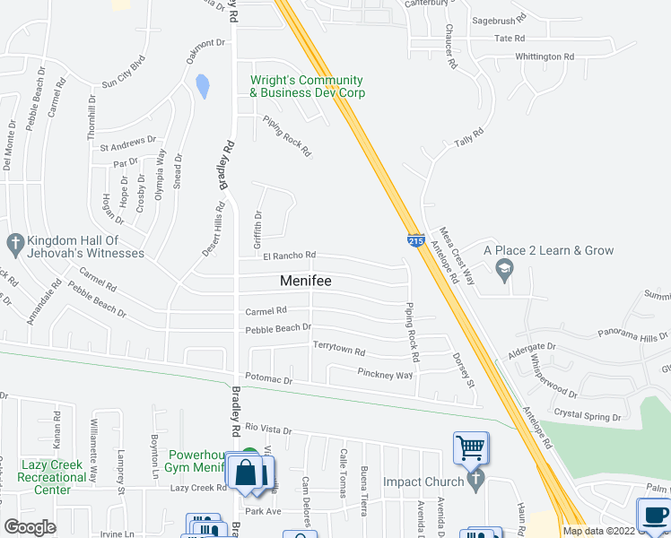 map of restaurants, bars, coffee shops, grocery stores, and more near 27270 Pinehurst Road in Menifee