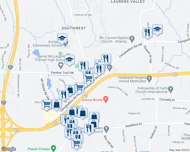 map of restaurants, bars, coffee shops, grocery stores, and more near 2939 Campbellton Road Southwest in Atlanta